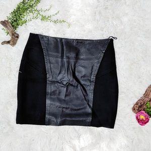 BB Dakota black mini skirt leather panel knit